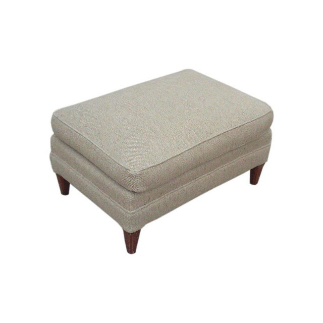 Mid-Century Oatmeal Upholstered Ottoman - Image 5 of 7