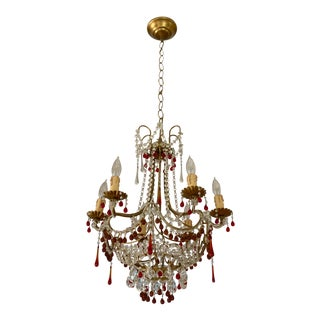 Victorian Orange and Red Accented Chandelier For Sale