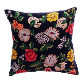 Boho Chic Anke Drechsel Hand Embroidered in Indigo Pillow