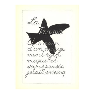 "Georges Braque La Liberte Des Mers 15"" X 11"" Lithograph 1960 Cubism Black & White Poetry For Sale"
