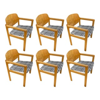 Scandinavian Midcentury Armchairs in Plaid, Set of 6 For Sale