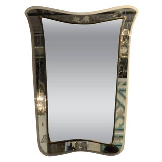 Attributed to Pietra Cheisa for Fontana Arte Mid Century Modern Italian Etched Glass Mirror