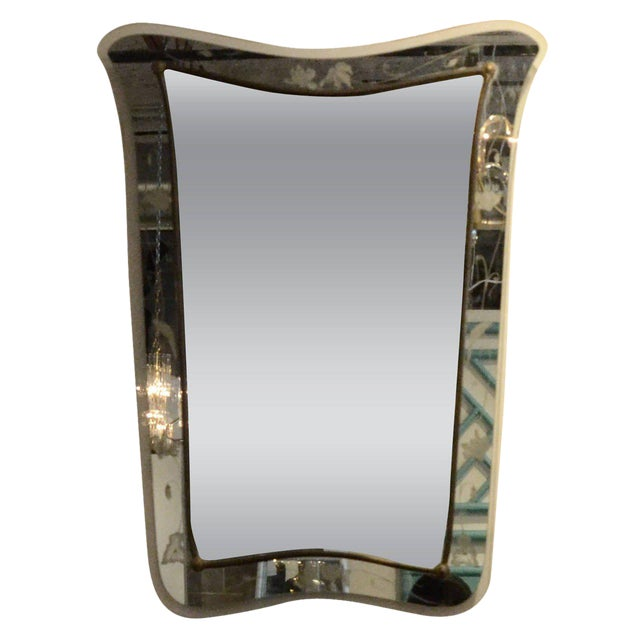 Attributed to Pietra Cheisa for Fontana Arte Mid Century Modern Italian Etched Glass Mirror - Image 1 of 11