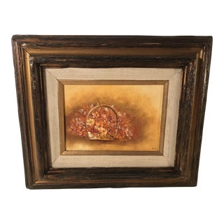 Vintage Still Life Oil Painting in Wooden Frame