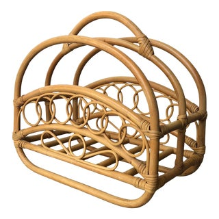 Vintage Mid Century Modern Bamboo and Rattan Magazine Stand For Sale