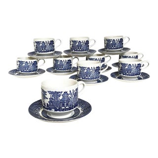 Chinoiserie Bone China Tea Cups - Service for 10 For Sale