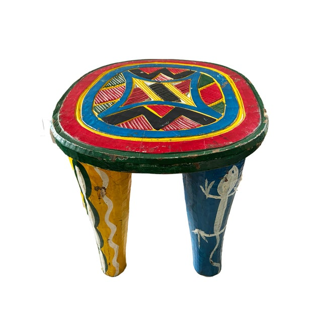 """Wood African Old Nupe Stool Nigeria 12"""" H For Sale - Image 7 of 8"""