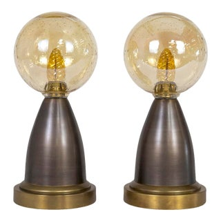Late 20th Century Modern Minimalist Brass Lamps W/ Amber Seeded Glass Globe Shades - a Pair For Sale