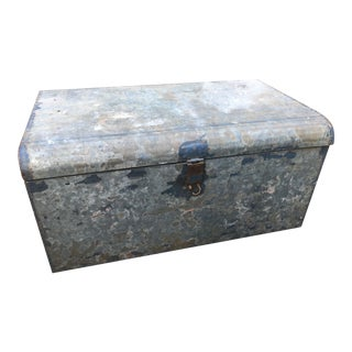 Vintage Blue and Gray Metal Trunk For Sale