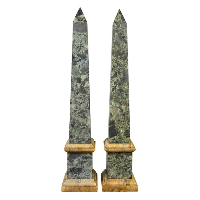 Stone Large Italian Grand Tour Verde Antico and Siena Marble Obelisks - a Pair For Sale - Image 7 of 8
