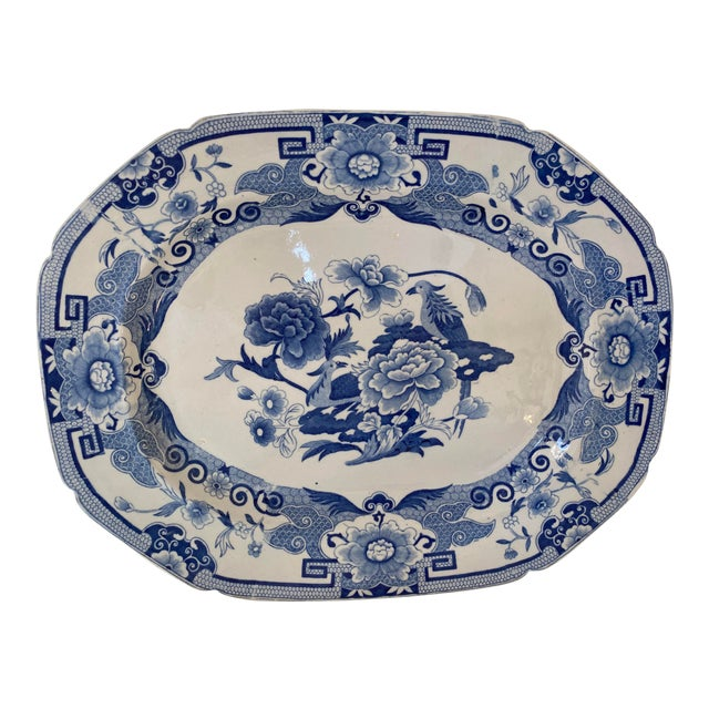 Antique Mason's Staffordshire Blue and White Platter For Sale