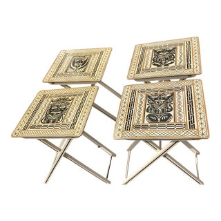1960s Tribal Hand Painted Nesting Tables - Set of 4 For Sale
