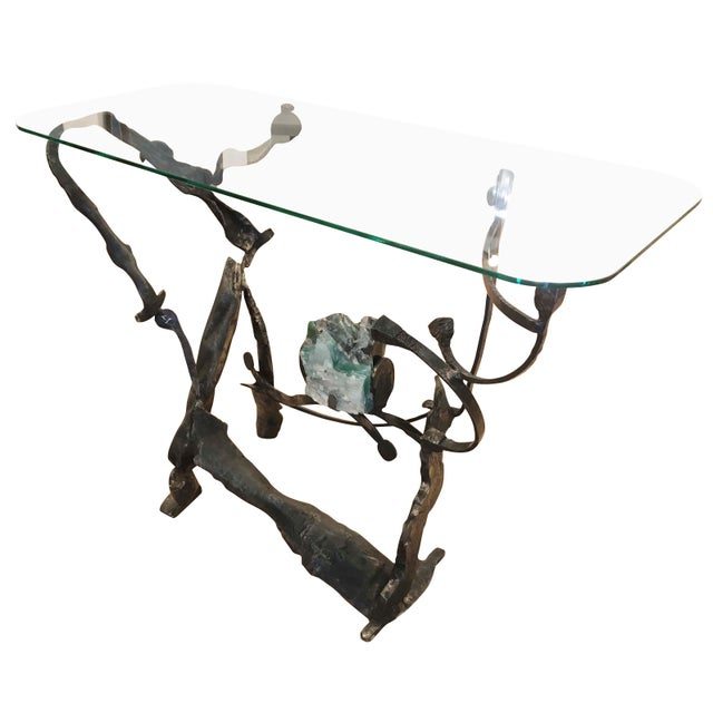 Metal Brutalist Iron and Glass Console by Salvino Marsura, Italy, 1970s For Sale - Image 7 of 8