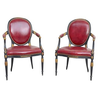 1900s Antique Edwardian Leather Armchairs- A Pair For Sale