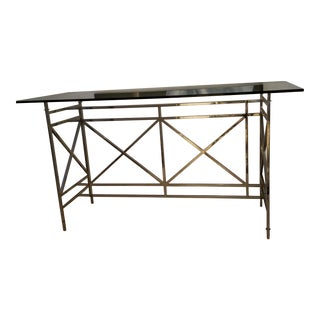 Designer Modern Chrome and Robb and Stuckey Glass Bar or Tall Console For Sale