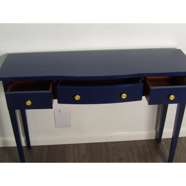 Transitional Navy Console With Three Drawers For Sale - Image 4 of 6