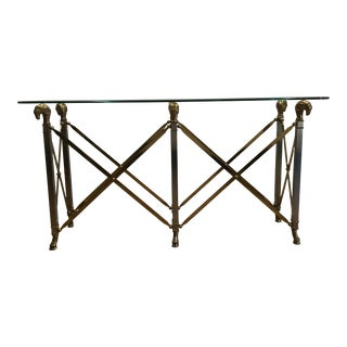 Regency Brass and Steel Rams Head Console Table For Sale