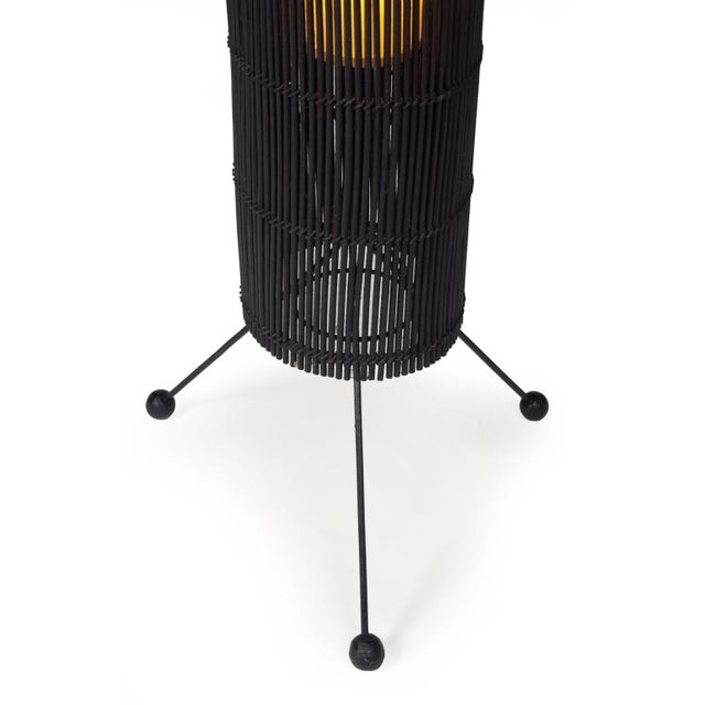 Mid-Century Modern Tony Paul for Raymor Black Wicker Fish Trap Floor Lamp For Sale - Image 3 of 3