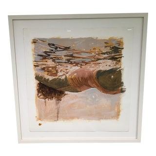 "Carol Bennett ""Salmon Study"" Framed Mixed Media Painting on Paper For Sale"