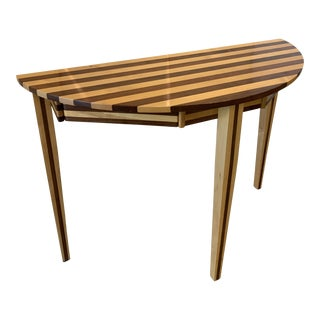 Mid 20th Century Contemporary Striped Wooden Demilune Table For Sale