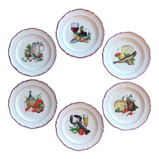 Vintage French Appetizer Plates - Set of 6 For Sale