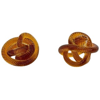 Pair of Mid-20th C. Glass Knots Attributed to Zanetti For Sale