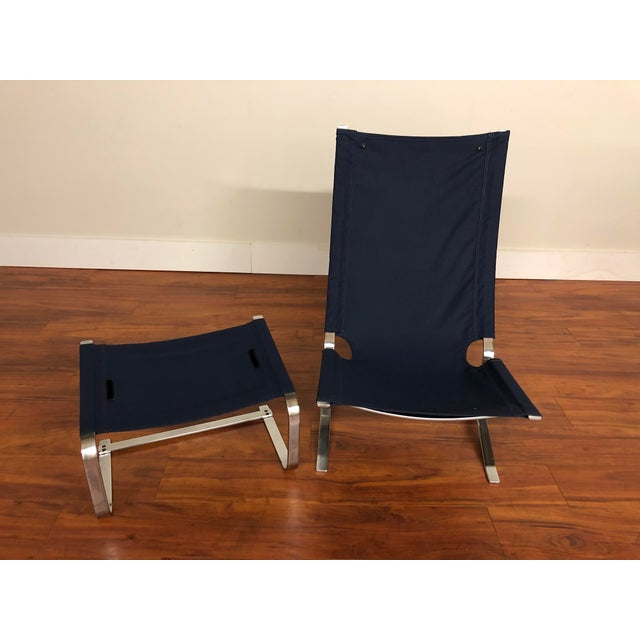 Danish Vintage Metal Lounge Chair and Ottoman Newly Upholstered For Sale - Image 9 of 11