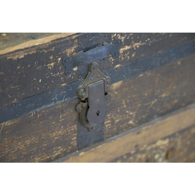 Brown Large Antique Hardwood Steamer Trunk For Sale - Image 8 of 11