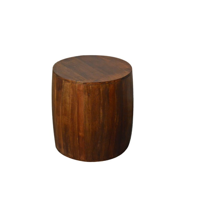 This drum/barrel style reclaimed solid wood side table will provide perfect accent to any room. It will be an exotic eye-...