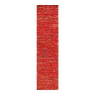 Pasargad Red Sari-Silk Modern Flat Weave Runner 2'4'' X 10 For Sale