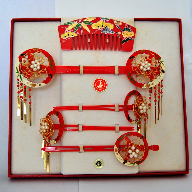 Japanese Maiko Kanzashi Geisha Hair Ornament Set - Set of 6 - Image 9 of 9