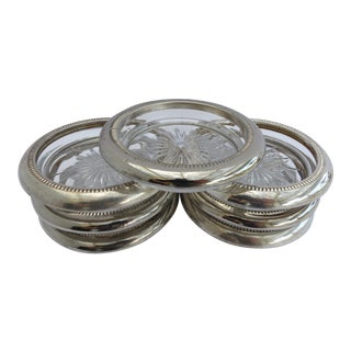 Silver Plate Rim Crystal Cocktail Coasters - Set of 7 For Sale