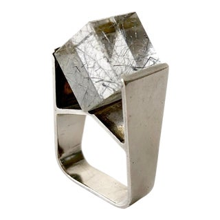 Jens Christian Thejls Sterling Silver Rutilated Quartz Danish Modernist Ring For Sale