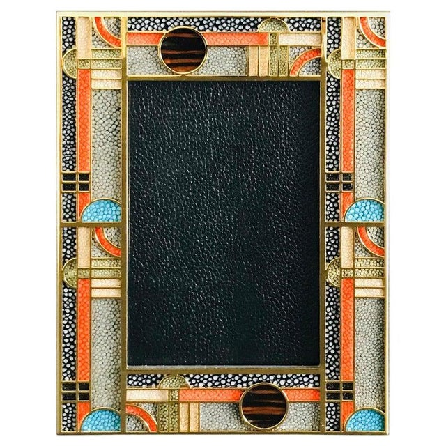 Metal Multi-Color Shagreen Gold-Plated Photo Frame by Fabio Ltd For Sale - Image 7 of 7
