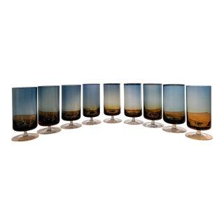 Ombre Navy & Amber Crystal Stemware Goblets / Glasses, Set of 9 For Sale