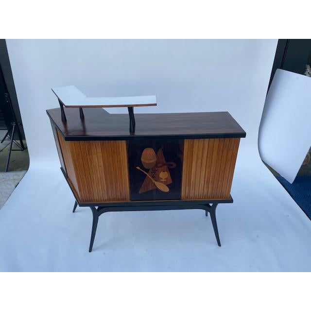 Mid-Century Modern Late 1950's Mid Century Inlaid Bar For Sale - Image 3 of 11