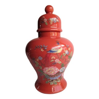 Cased Glass Temple Jar, Orange With Peacocks and Flowers For Sale