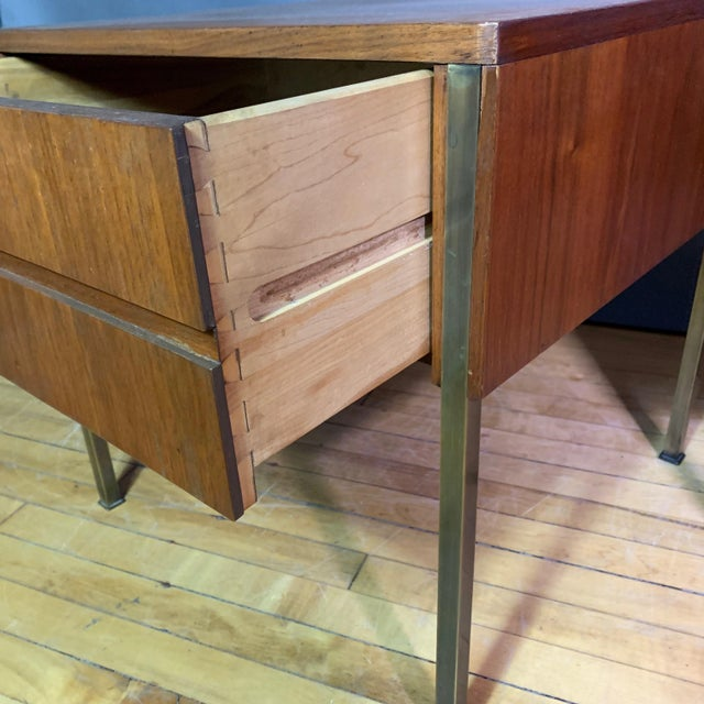 Pair Edmund Spence Walnut and Brass End Tables, Sweden 1945 For Sale - Image 9 of 11