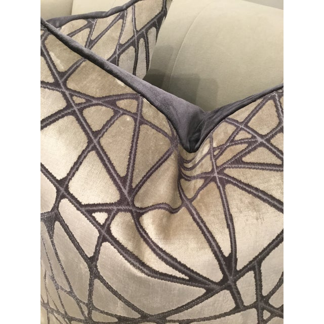 Contemporary Holly Hunt Silver Streak Silk Velvet Pillows - A Pair For Sale - Image 3 of 6