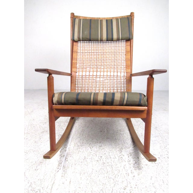 Mid-Century Modern Scandinavian Modern Teak and Cane Rocking Chair by Hans Olsen For Sale - Image 3 of 13