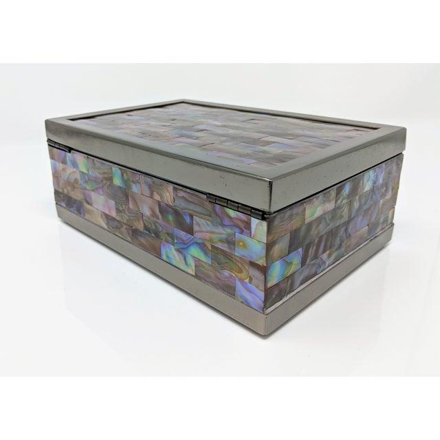 Jonathan Adler Inspired Polish Gun Metal & Abalone Shell Box For Sale - Image 11 of 12