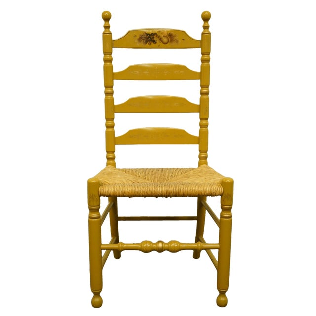 Late 20th Century Hitchcock Stenciled Ladder Back Accent Side Chair For Sale - Image 10 of 10