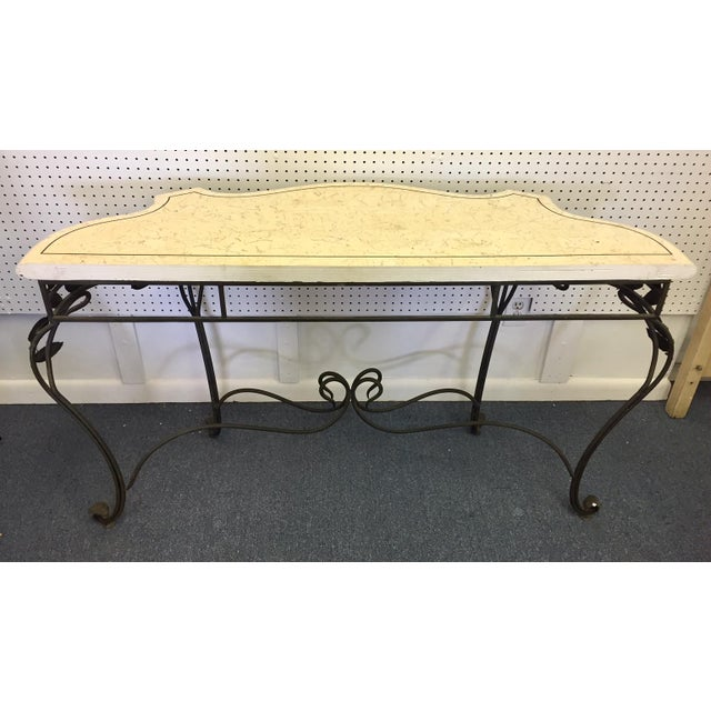 Antique Faux Marble and Iron Console Table For Sale - Image 9 of 11
