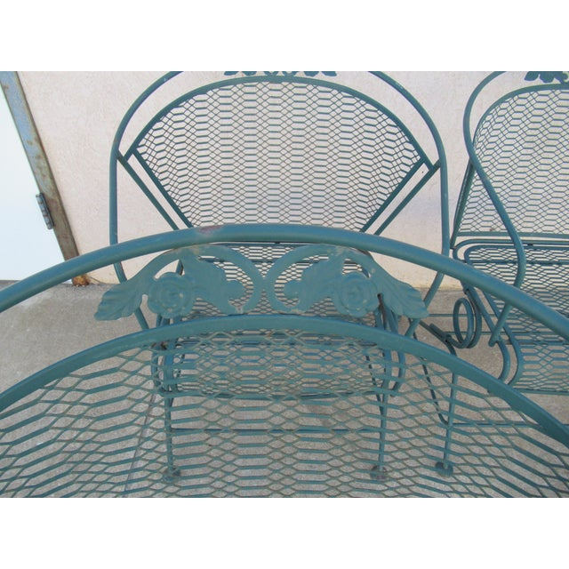 Metal Vintage Spring Patio Dining Chairs - Set of 4 For Sale - Image 7 of 13