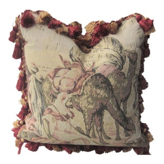 Antique French Tapestry Feather Filled Pillow For Sale