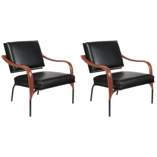 Pair of All Original Adnet Armchairs For Sale