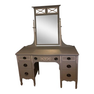 1930s Art-Deco Gray Hand-Painted Vanity For Sale
