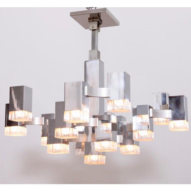 "Silver Gaetano Sciolari Chrome ""Cubic"" Chandelier For Sale - Image 8 of 8"