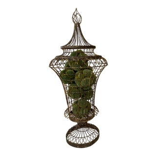 Sculptural Wire Urn with Moss Balls For Sale