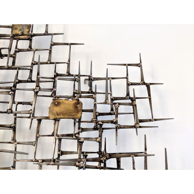 Bronze Brass Brutalist Nail Wall Sculpture For Sale In Miami - Image 6 of 12
